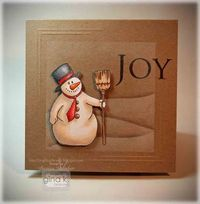handmade winter card from Crafting The Web ... luv the way the snowy landscape lines look on kraft... cute chubby snowman ... JOY ... hand embossed corner lines ... great card ... Gina K Designs