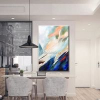 Abstract painting acrylic painting on canvas wall art original large blue and yellow Painting Wall Pictures cuadros abstractos home decor $89.00