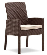 Strathwood Griffen All-Weather Wicker Dining Arm Chair, Dark Brown, Set of 2