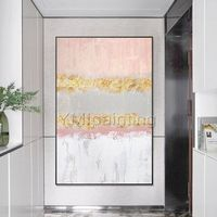 Modern art Abstract paintings on canvas original art Gold art pink painting wall pictures hand painted Home decor cuadros abstractos $123.75
