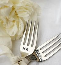 Spied over at Blue Orchid Designs, these handstamped wedding cake forks and serving pieces made from vintage flatware by Beach House Living are too sweet not to