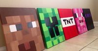 Minecraft Paintings. Hand painted Minecraft Art. Custom Minecraft Art. Personalized Minecraft Art. Minecraft Decor. Playroom Art. Boys' Room Art. Kid's Room Art. Prints available too! You choose the characters and you can personalize TNT with your...