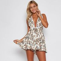 Floral Print Sexy Backless Beach Casual Lace V-Neck Sleeveless Romper $35.70