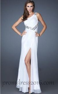 Affordable White One Shoulder Chiffon Prom Gown