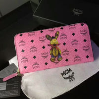 MCM Rabbit Visetos Leather Long Wallet In Pink