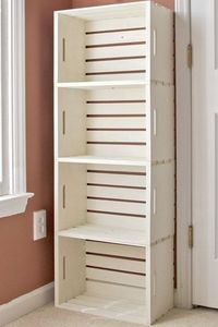 DIY crate bookshelf made from wooden crates from the craft store (Michaels under 13 dollars) or use recycled crates*