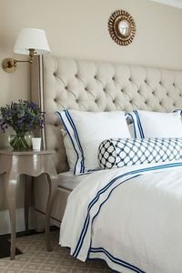 Suzie: ML Interior Design - Beautiful bedroom with Horchow vanguard Brea Bed, glossy taupe ...