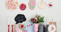 love the letters in the hoops ... would be fun with vintage fabrics