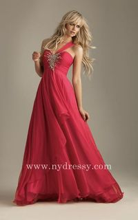 One-shoulder chiffon deep watermelon evening dress Night Moves 6203 by Allure