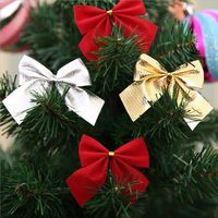 Pack of 6 Mini Gold or Red Bows. 5cm x 5cm Christmas Tree Decoration. For Xmas Craft, Gift, New Year, Clothing, Scrapbook, Cards & Dolls £1.89
