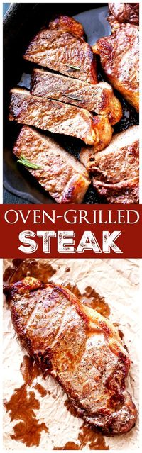 """Oven Grilled Steak �€"""" Delicious, tender, and juicy thick-cut steak grilled in the oven!"""