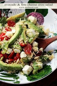 Avocado and Feta Cheese Orzo Salad   www.diethood.com   Bright, simple, and delicious appetizer salad with Avocados, Feta Cheese and Orzo.   #recipe #LoveAvocado #ad