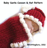 Baby Santa Cocoon Knitting Pattern Fast Easy DIY by KnittingGuru. Summer's a great time to get started on lots of Christmas gifts!