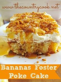 This Bananas Foster Poke Cake starts with a boxed cake mix and has bananas and caramel added and topped with whipped cream and Biscoff. No alcohol.