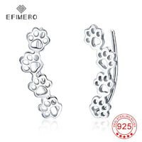 Gift for Pet Lovers 925 Sterling Silver Dog Cat Paw Print Ear Climber Earrings Animal Stud Earrings Jewelry for Women Girls $27.00