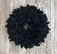 Black Felt Wreath 12-13 inches! Great for Indoor or Outdoor (covered) Use. $34.99