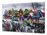 Marvel & DC Superhero Lunch Atop A Skyscraper- Mounted Canvas Wall Art - Captain America, Iron Man, Batman, Spider-Man, Hulk and More £19.99
