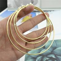 Trendy Big to small circle gold silver Round Clip Earrings $16.42