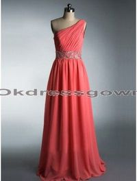 coral open back long one shoulder chiffon cheap prom dress, prom dresses under 200