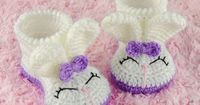 Olivia the Bunny Booties - Toddler Sizes - Crochet Pattern by One and Two Company
