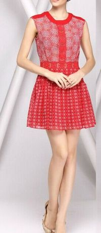 2015 BCBG RED LACE PLEATED DRESS
