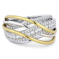 0.86ct Round Cut Diamond Pave Overlap Swirl Right-Hand Statement Ring in 18k White & Yellow Gold