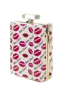 LCOLETTE Large Perfume Shape Lips Design Magazine Clutch Double Chain And Strap 101807 Lips