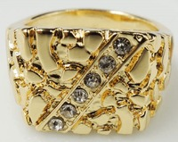 18K Gold Plated Chunky Nugget Crystals Studded Ring £17.95