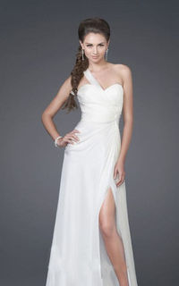 Strapless Long White One Shoulder Prom Dress with Bejeweled Ornament