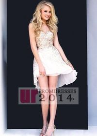 High To Low Sequins Ivory Chiffon Homecoming Dress 2014
