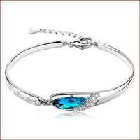 Length 15cm High Polished Finish Deep Blue Crystal Decoration Crystal Studded Band Silver Plated Elegant Style Secure Parrot Closure Adjustable Clasp Screens Class and Sophistication