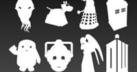 Doctor Who Stencils. These would be good for dodging powdered sugar on top of chocolate frosting. Would make cook Daleks and Weeping Angels.
