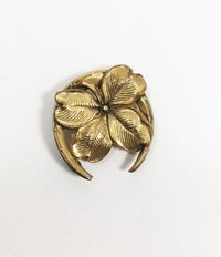 Art Deco Four Leaf Clover Horseshoe Pin with C Clasp Vintage Early 1900s Style Gold Tone Good Luck Pendant St Patrick's Tie or Dress Clip $56.00