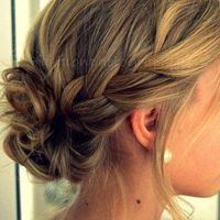 How to: french braid into messy bun.. Too bad my hair will fall out in like .5 seconds.