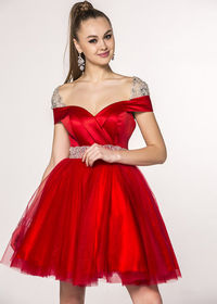 Lovely Hot Red Satin Jeweled Embellishment Cap Sleeves Party Dress