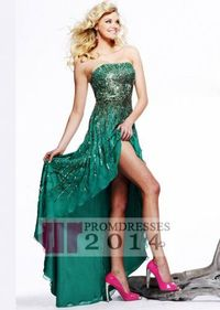 2014 New Style Low Front High Back Green Party Dress