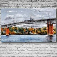 A Bridge Over The River Hand-painted Oil Painting