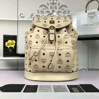 MCM Medium Heritage Visetos Backpack In Beige