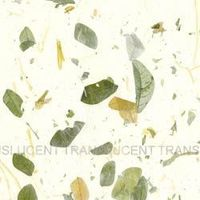 Brown and green raintree leaves join long fiber strands scattered throughout this lightweight paper. Machine made in Thailand in 25 x 37 inch sheets. 3.20