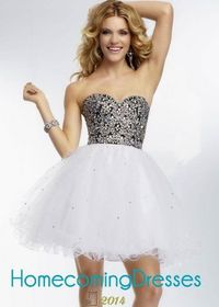 Shimming Beaded Black Bodice Short Party Dress With White Tulle Skirt