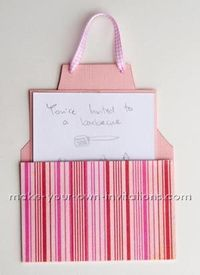 How to make an Apron Invitation Card ~ with free downloadable template. Cute for Cooking Party, Dinner Party, BBQ, House Warming, etc.