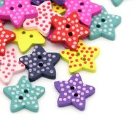 Pack of 50 Assorted Colours Wooden Polka Dot Star Buttons. 15mm x 15mm, £3.59