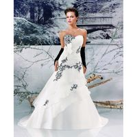 Simple A-line Sweetheart Bow(s) Embroidery Sweep/Brush Train Satin&Organza Wedding Dresses - Dressesular.com