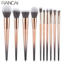 �Ÿ˜�RANCAI 10pcs Makeup Brushes Set Foundation Powder Blush Eyeshadow Sponge Brush Soft Hair Cosmetic Tools with Leather Bag�Ÿ˜� $10.66