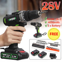 28V Cordless Double Speed Power Drills 2 Battery Electric Drill Driver W/ 32Pcs Accessories Kit