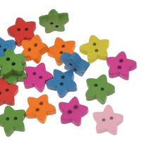 Pack of 100 Assorted Colours Xmas Wood Star Buttons. 13mm Plain Design Christmas Wooden Children's Buttons £5.69