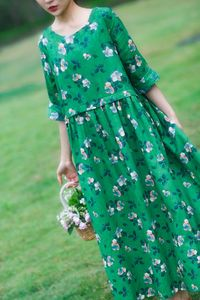 Green floral dress, Linen dresses for women, kaftan maxi dress, Summer dress, Loose dress, Cotton dresses summer, Floral dress