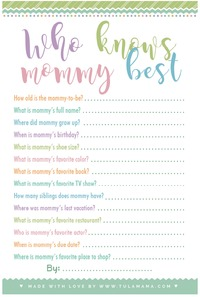 Baby shower games who knows mommy the best