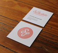 Letterpress Business Card - love the square and knockout logo on front with info on back
