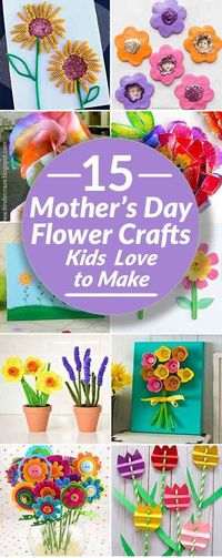 Adorable Mother's Day flowers for kids to make from simple craft supplies such as yarn, buttons & pipe cleaners. Sweet Mother's Day crafts make perfect gifts.